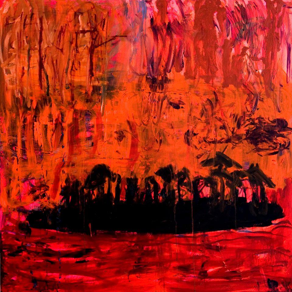 Landskap i brand, olja på duk 150x150 cm 2004 Marika Holm